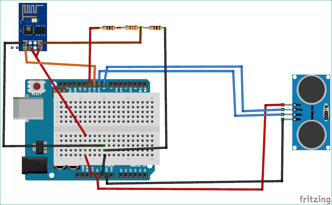 Arduino Garbage Monitoring Circuit Diagram